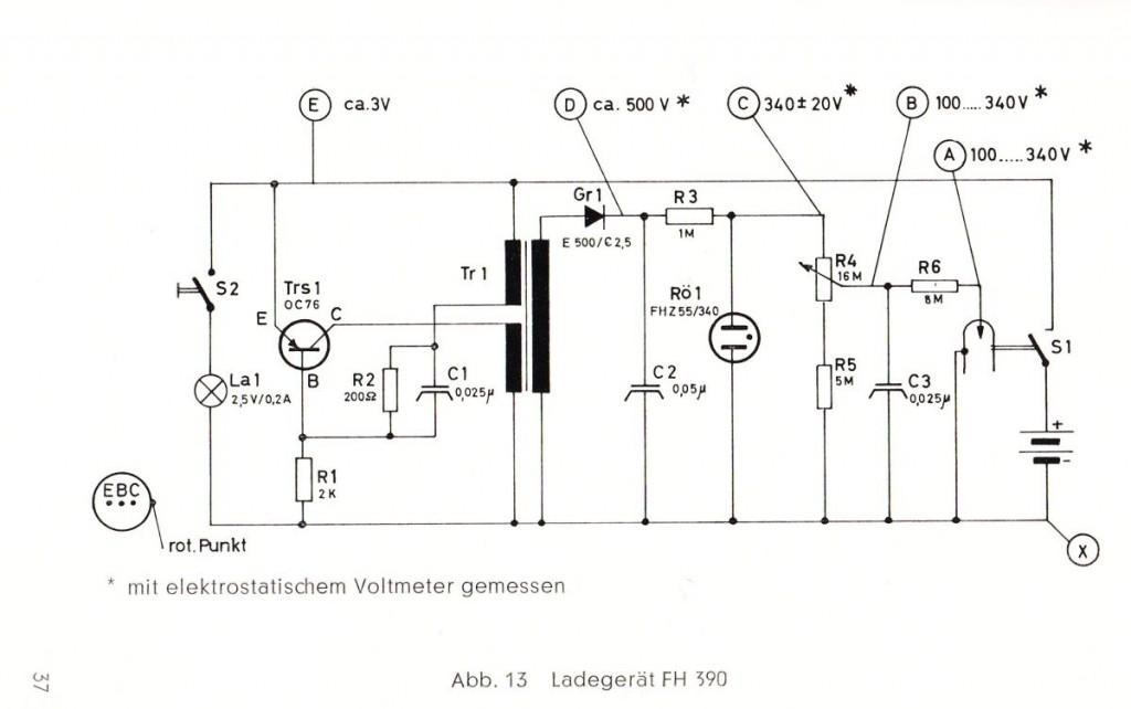 Schaltung des Dosimeter-Ladegerätes
